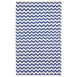 Hand-woven Blue Electro Flatweave Wool Rug (5' x 8')
