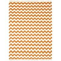 Hand-woven Orange Electro Flatweave Wool Rug (4' x 6') - 4' x 6'