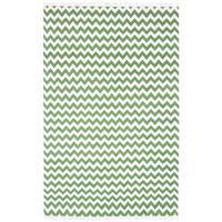 Hand-woven Green Electro Flatweave Wool Rug - 5' x 8'