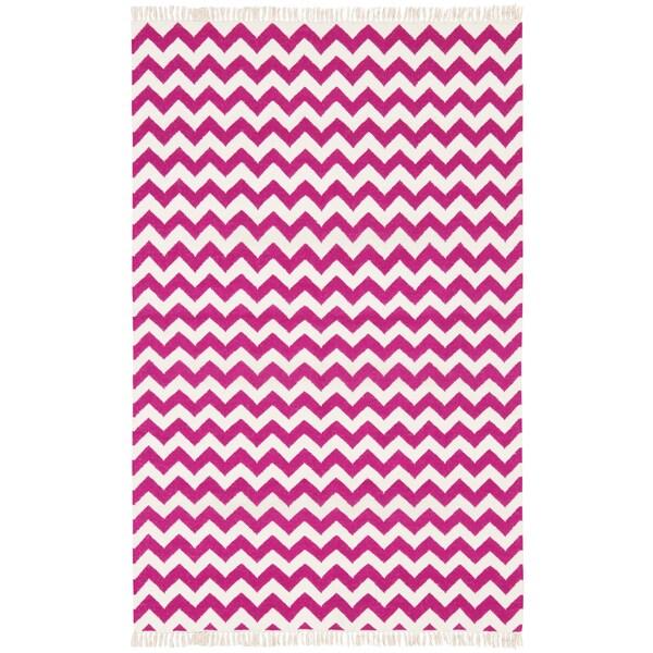 Hand-woven Purple Electro Flatweave Wool Rug - 5' x 8'