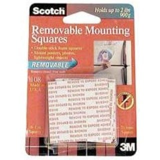 "Scotch Precut Foam Mounting 1"" Squares Double-Sided Removable 16 Squares/Pack"