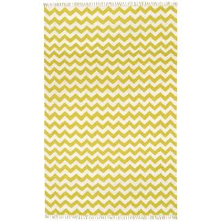 Hand-woven Yellow Electro Flatweave Wool Rug (5' x 8')