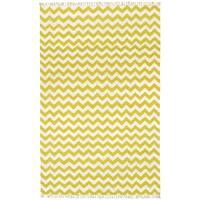 Hand-woven Yellow Electro Flatweave Wool Rug - 5' x 8'