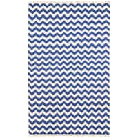 Hand-woven Blue Electro Flatweave Wool Rug (8' x 10') - 8' x 10'
