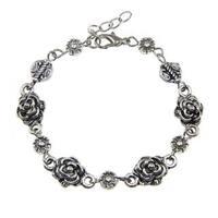 Handmade Tibetan Silver Rose Bracelet (China)