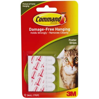 "Command Poster Strips White 5/8"" x 2-1/8"" 12 Strips/Pack"