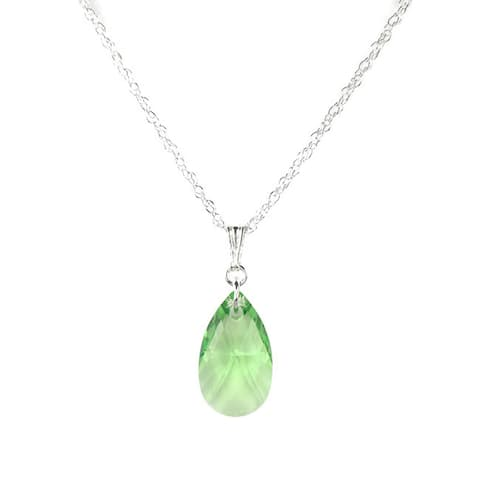 Handmade Jewelry by Dawn Small Green Pear Crystal and Sterling Silver Necklace (USA)