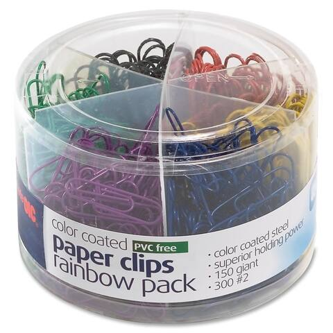 Officemate Plastic Coated Paper Clips Assorted Colors 300 Small Clips 150 Giant Clips