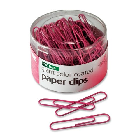 Officemate Paper Clips PVC-Free Plastic Coated Wire Jumbo Pink 80/Pack