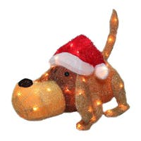 20-inch Pre-lit Clear Mini Lights Christmas Greeting Puppy