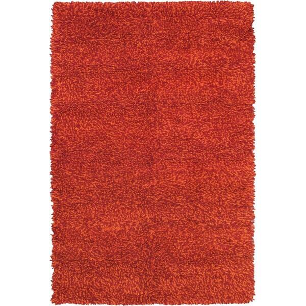 ECARPETGALLERY Handmade Ritz Dark Red, Orange Wool Shag - 6'7 x 9'10