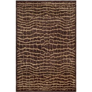 Safavieh Hand-knotted Tibetan Contemporary Brown/ Beige Wool Rug (4' x 6')