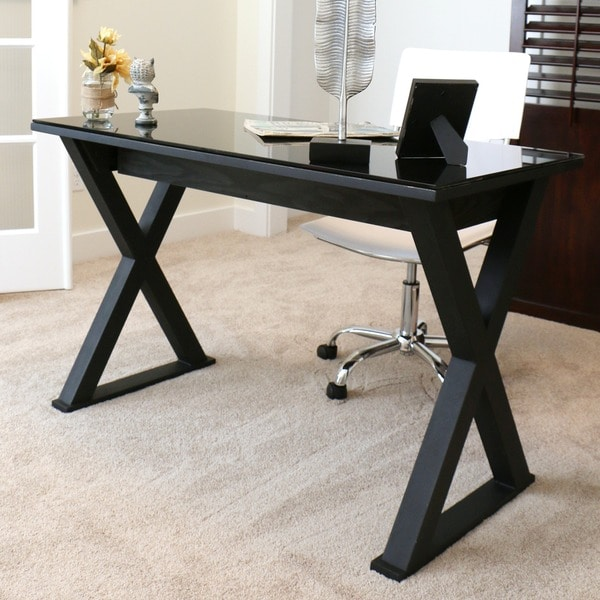 Shop 48 Inch Black Glass Computer Desk On Sale Free