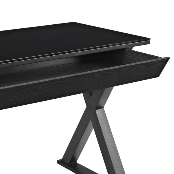 48 Inch Black Glass Computer Desk   Free Shipping Today   Overstock.com    15708154