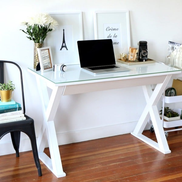 Inch White Glass Metal Computer Desk Free Shipping Today