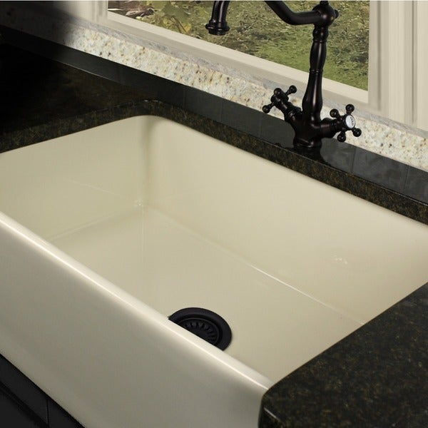 30 Inch Fireclay Farmhouse Sink : Highpoint Collection 30-inch Bisque Fireclay Farmhouse Kitchen Sink ...