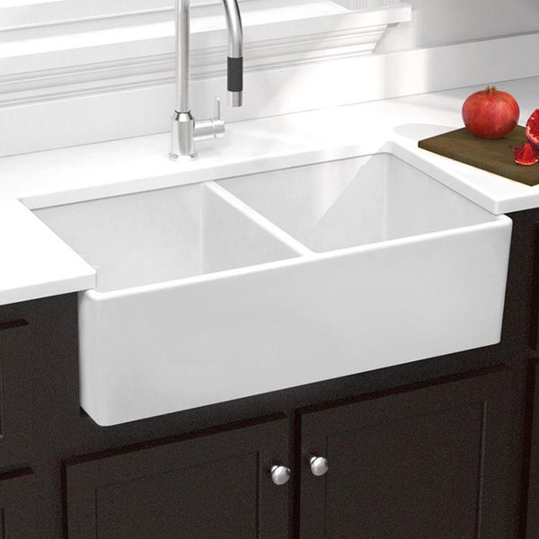 Farmhouse Sink Double : ... Fireclay Butler Reverse Apron 32.5-inch White Double Kitchen Sink