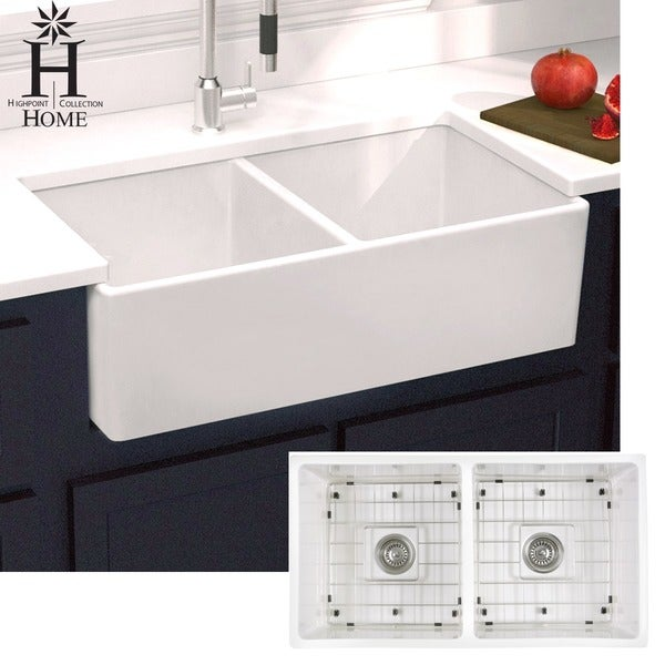 Lovely Highpoint Collection Double Bowl Fireclay Farmhouse Sink