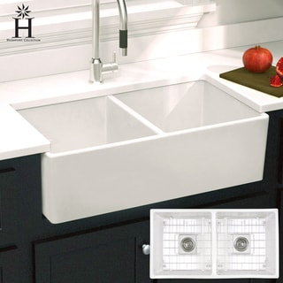 Highpoint Collection Double Bowl Fireclay Farmhouse Sink   33 X 18 X 10