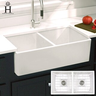 Highpoint Collection White Fireclay Double Bowl Farmhouse Sink
