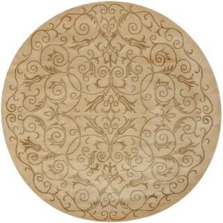Safavieh Hand-knotted Tibetan Iron Scrolls Ivory Wool/ Silk Rug (8' Round)