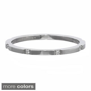 Stackable Ring with Cubic Zirconia Accent in Stainless Steel