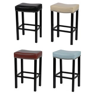 Tudor Bonded Leather/Chrome Nails 26-inch/ 30-inch Stool