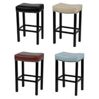 Laurel Creek Agatha Bonded Leather Stool with Chrome Nailheads