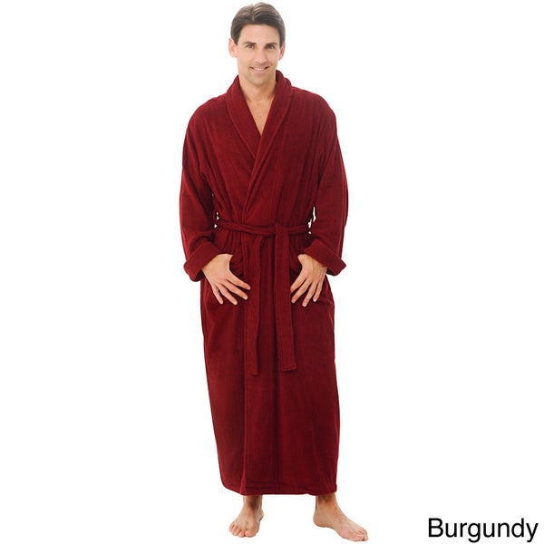 Del Rossa Men's Full Length Shawl Collar Terry Cotton Bath Robe