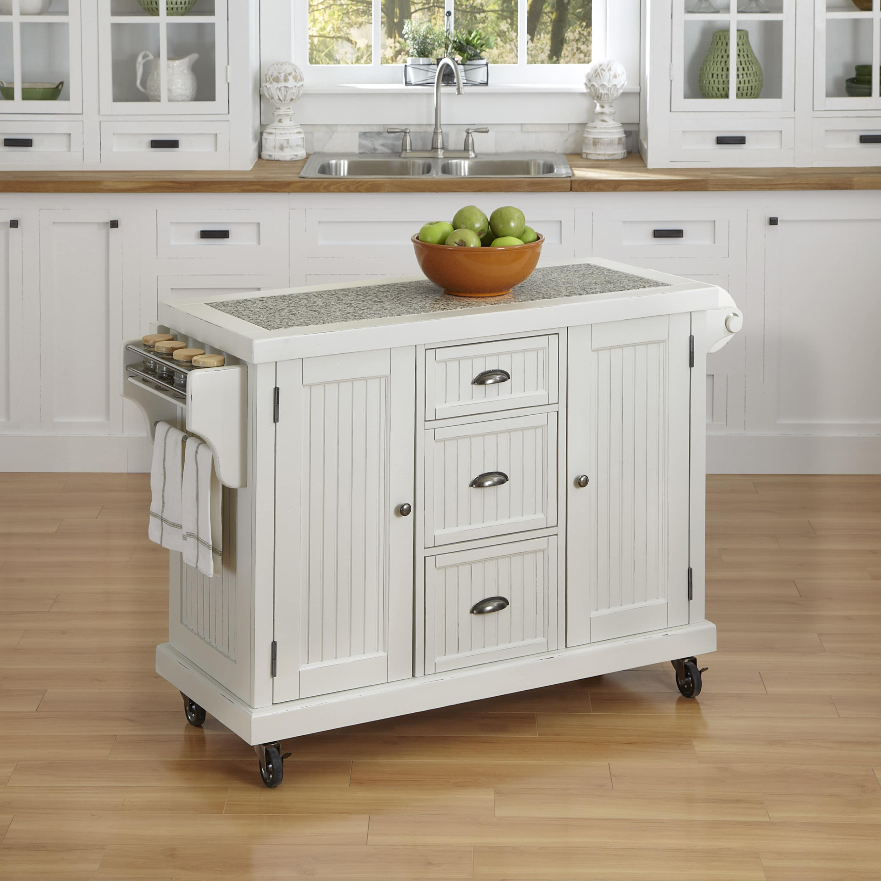 Shop Nantucket Distressed Kitchen Cart by Home Styles - Free ...