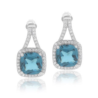 Icz Stonez Sterling Silver Cubic Zirconia Square Earrings