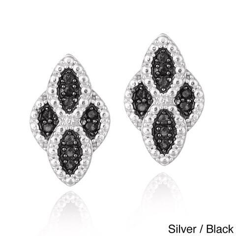 Glitzy Rocks Sterling Silver Gemstone Diamond-shaped Earrings