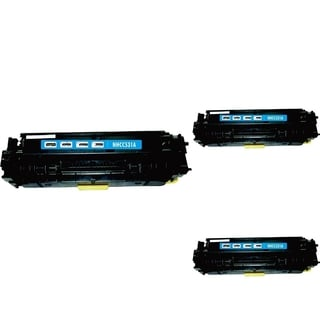 INSTEN Cyan Cartridge Set for HP CC531A (Pack of 3)