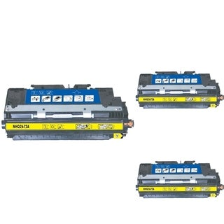 INSTEN Yellow Cartridge Set for HP Q2672A (Pack of 3)