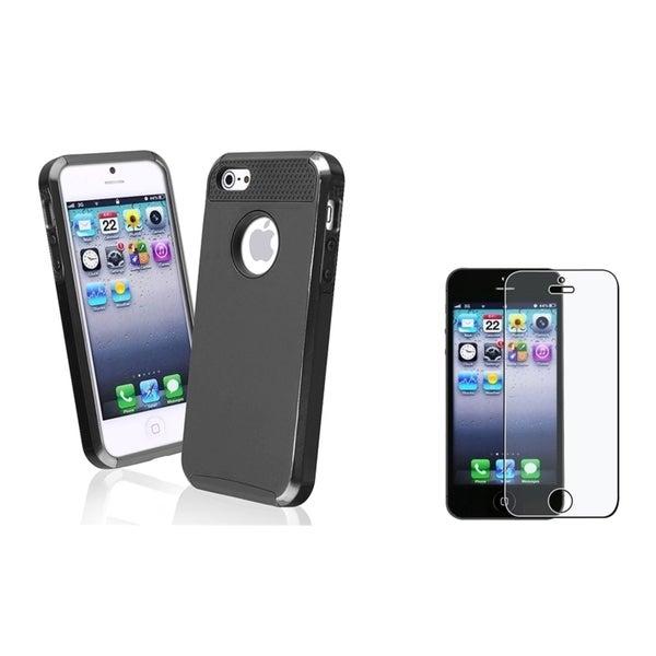 INSTEN Hybrid Phone Case/ Anti-glare Screen Protector for Apple iPhone 5/ 5C/ 5S/ SE