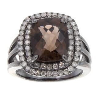 Black Rhodium-plated Silver Smokey Quartz and 1/2ct TDW Diamond Ring (J-K, I2-I3)