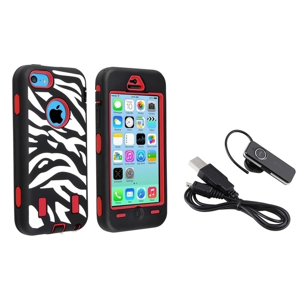 INSTEN Phone Case Cover/ Wireless Bluetooth Headset for Apple iPhone 5C