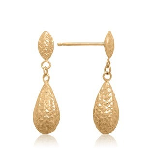 Gioelli 14k Yellow Gold Diamond-cut Double Puffed Teardrop Earrings