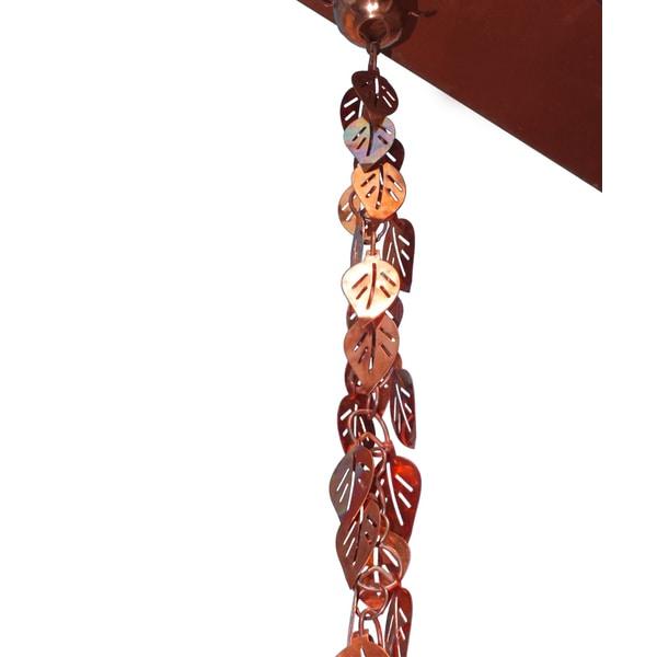 Monarch Pure Copper Cascading Leaves Rain Chain 8.5 Ft Inclusive of Installation Hanger