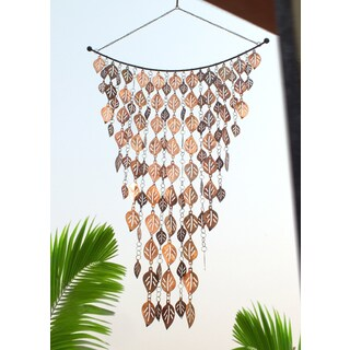 Monarch'S Pure Copper Cascading Leaves Wind Chime 42-Inch x 24-Inch