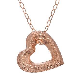 Gioelli 14k Rose Gold Diamond-cut Open Puffed Heart Necklace