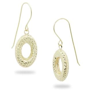 Gioelli 14k Yellow Gold Diamond-cut Puffed Oval Earrings