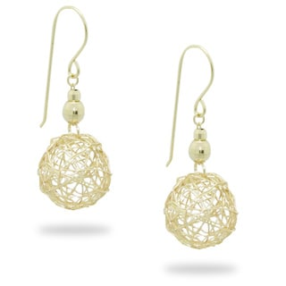 Gioelli 14k Yellow Gold Wire Ball Dangle Earrings