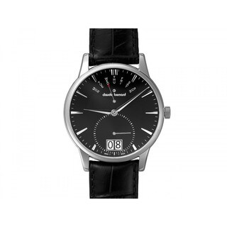 Claude Bernard Men's Black Dial Leather Strap Watch