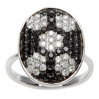 Kabella 18k White Gold Black and White Diamond Oval Ring