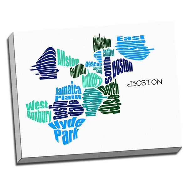 Shop Boston Typography Map Wall Art Free Shipping Today
