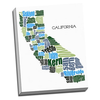 'California Typography Map' Wall Art