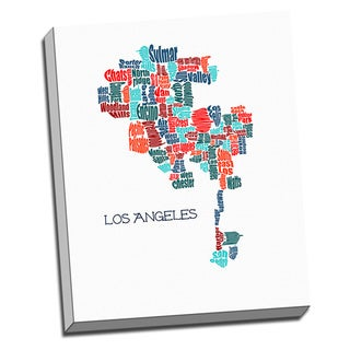 'Los Angeles Typography Map' Wall Art