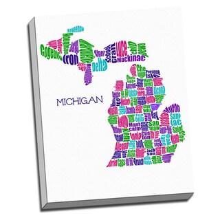'Michigan Typography Map' Wall Art