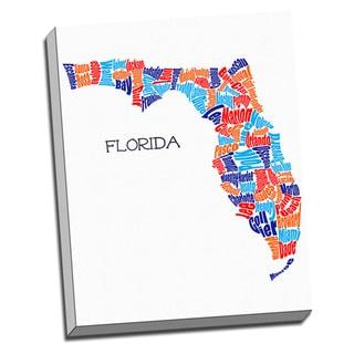 'Florida Typography Map' Wall Art